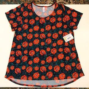 Lularoe Classic T shirt orange flowers 3xl NWT